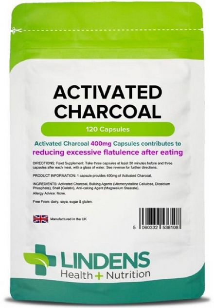 Activated Charcoal 400mg x 120 Capsules; Wind, Bloating; Lindens